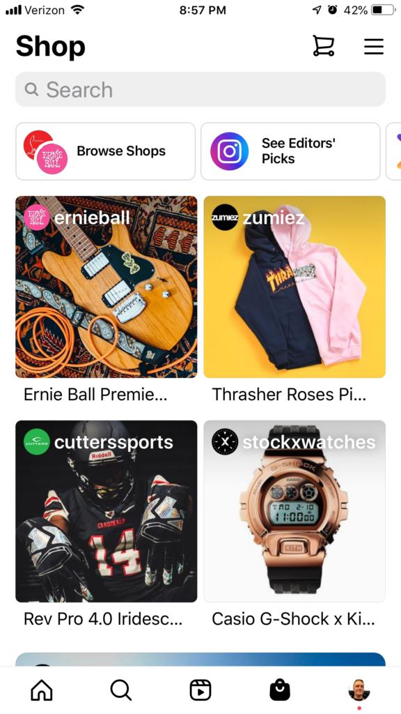 Screenshot: Instagram Shop